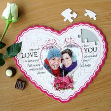 Love Message Personalizado Heart Shape Puzzle