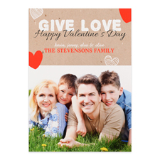 Give Love Personalized Photo Valentine's Card, 5x7 Flat