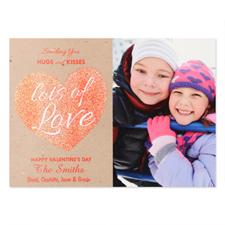 Glitter Love Personalized Photo Valentine's Card