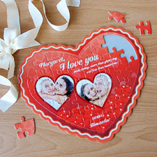 Red Love Personalizado Heart Shape Puzzle