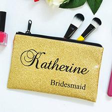 Bolsa cosmética personalizada con purpurina dorada para damas de honor mediana