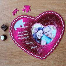 I Love You Personalizado Heart Shape Photo Puzzle