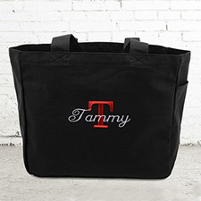 Nombre e #1 Inicial bolsa de lona personalizada de color negro