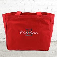 Nombre e #1 Inicial bolsa de lona personalizada de color rojo