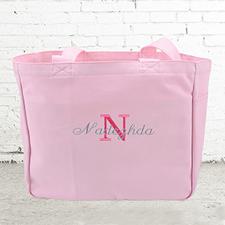 Nombre e #1 Inicial bolsa de lona personalizada de color rosado