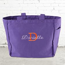 Nombre e #1 Inicial bolsa de lona personalizada de color Púrpura