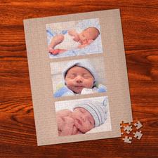 Rompecabezas personalizados con colage de 3 fotos dorados intemporal  Portrait 30.48 cm x 41.91 cm