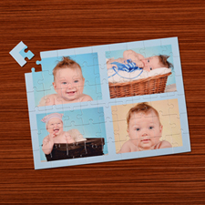 Personalizado azul bebé  4 colage 30.48 cm x 41.91 cm Photo Puzzle
