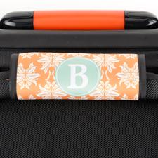 Orange Damask Personalized Luggage Handle Wrap
