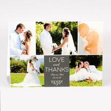 Personalized Love And Thanks Collage Photo Card For Wedding
