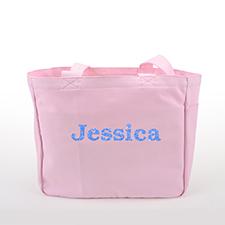 Texto brillante Bolsa de lona personalizada, rosado