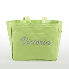 Bolsa de lona con texto brillante personalizada, verde