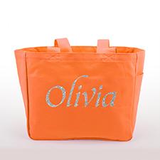 Bolsa de lona con texto de brillo personalizado, naranja