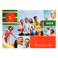 Five Photo Collage Personalized Christmas Card