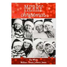 Merry Christmas Four Collage Personalized Photo Card