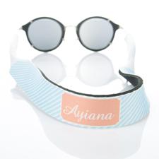 Rayas azul claro correa de gafas de sol monogramada