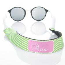 Rayas verdes de lima correa de gafas de sol monogramadas
