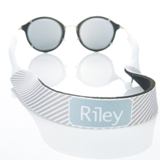 Rayas grises correa de gafas de sol monogramatizada