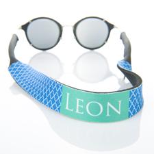 Correa de gafas de sol azul de cuatro hojas con monograma