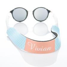 Correa de gafas de sol de cuatro hojas de color azul claro con monograma