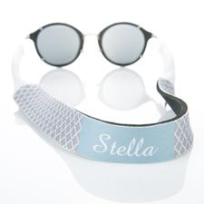 Correa de gafas de sol gris de cuatro hojas con monograma