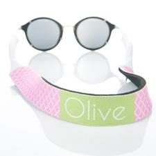 Correa de gafas de sol rosa de cuatro hojas con monograma