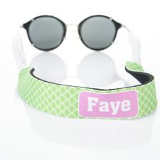 Círculo entrelazado verde lima correa de gafas de sol monogramada