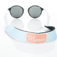 Círculo entrelazado azul claro correa de gafas de sol monogramada