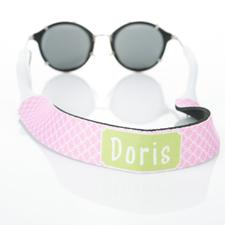 Correa de gafas de sol rosa entrelazada y monogramada