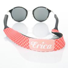 Correa de gafas de sol roja entrelazada y monogramada