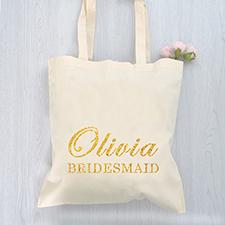 Bolsa de mano de algodón con brillo para las damas de honor personlizada con presupuesto
