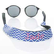 Símbolos azules Bordado Monograma correa de gafas de sol
