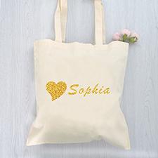 Bolsa de algodón con corazón y mensajes personalizados de púrpurina