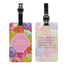 Etiqueta de equipaje personalizada con retrato floral de acuarela