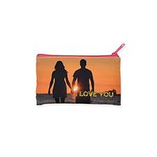 Bolsa cosmética con brillo de imagen personalizada 10.1x17.7, cremallera rosa (2 lados personalizados)