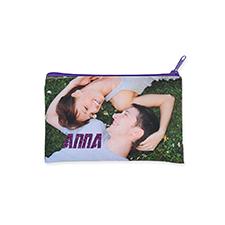 12.7x20.3 Bolsa cosmética con brillo de imagen personalizada, cremallera violeta (2 lados personalizados)