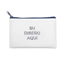 15.2x22.8 Bolsa cosmética con brillo de imagen personalizada, cremallera azul marino(2 lados personalizados)