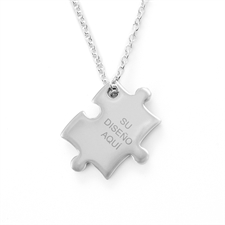 Custom Message Engraved rompecabezas Necklace, Custom Front