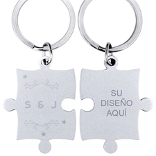 Wreath and Stars Personalizado Engraved rompecabezas Keychain