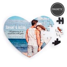 Imágenes personalizadas y mensaje Puzzle magnético en forma de corazón