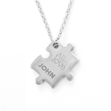 Love Is All You Need Personalizado Engraved rompecabezas Necklace, Custom Front