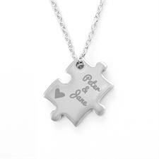 Heart Custom Engraved Name rompecabezas Necklace, Custom Front