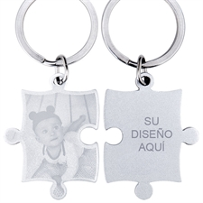 Engraved Photo and Text rompecabezas Keyring