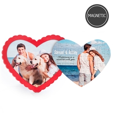 Personalizado Photo Heart-Shaped Magnetic rompecabezas with Red Frame