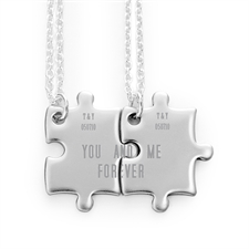 Personalizado Engraved Matching Couple rompecabezas Necklaces, Custom Front
