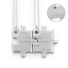 Customizable Engraved Matching Couple rompecabezas Necklaces, Custom Front and Back