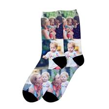 Calcetines unisex personalizados con impresión de fotos con collage de tres, medianos