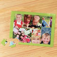 Rompecabezas personalizado con colage de 7 fotos, color manzana verde 30.48 cm x 41.91 cm