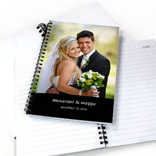 Create Your Own Portrait Photo Black Two Title Notebook
