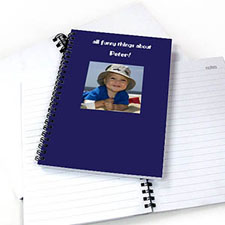 Create Your Own Square Photo Blue Two Title Notebook